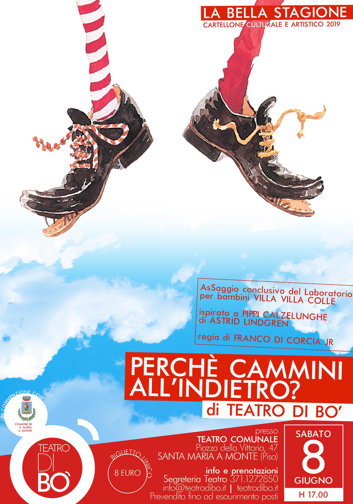 perche cammini all'indietro  2019 locandina teatro di bo