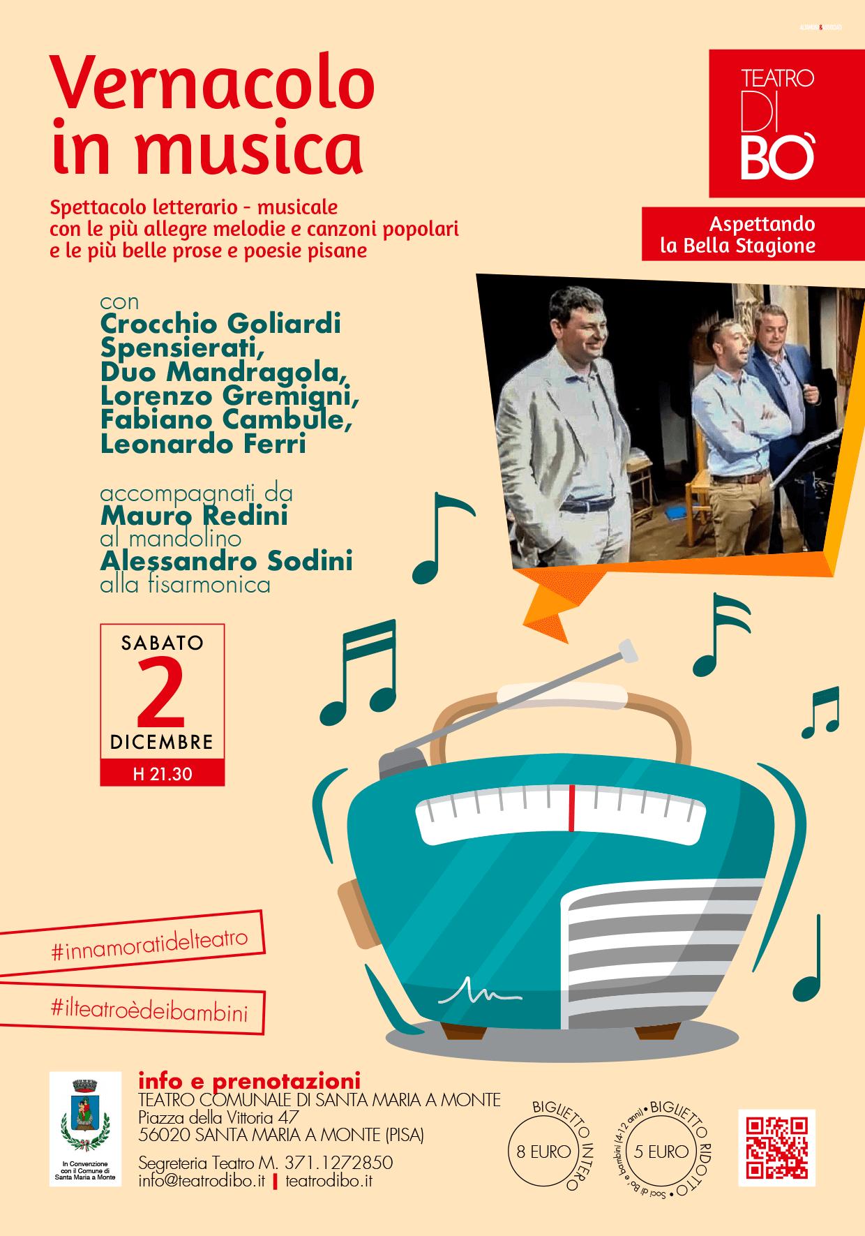 vernacolo in musica locandina teatro di bo